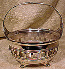 MERIDEN SP CANDY BASKET with GLASS LINER c1900