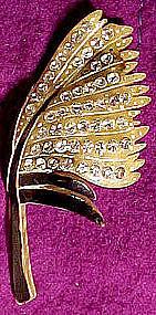 CARVED BAKELITE RHINESTONE PIN c1920s