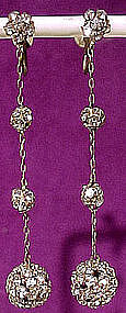ART DECO RHINESTONE DANGLY BALL EARRINGS 1920s