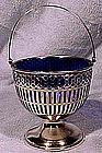 Webster STERLING SUGAR BASKET with COBALT LINER 1900