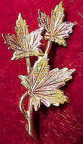10K 3 COLOUR GOLD MAPLE LEAVES ON BRANCH PIN