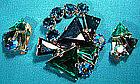 BLUE GREEN RHINESTONES BROOCH & EARRINGS SET 1950s