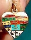 10K ENAMEL HEART CHARM CANADIAN PROVINCES 1900 George Lees