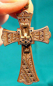 Ornate Victorian RGP & ENAMEL CROSS w/ BUCKLE c1870s