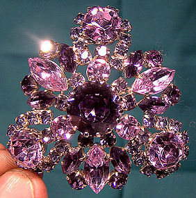 Flashy AUSTRIAN PURPLE RHINESTONE PIN c1950s-60s