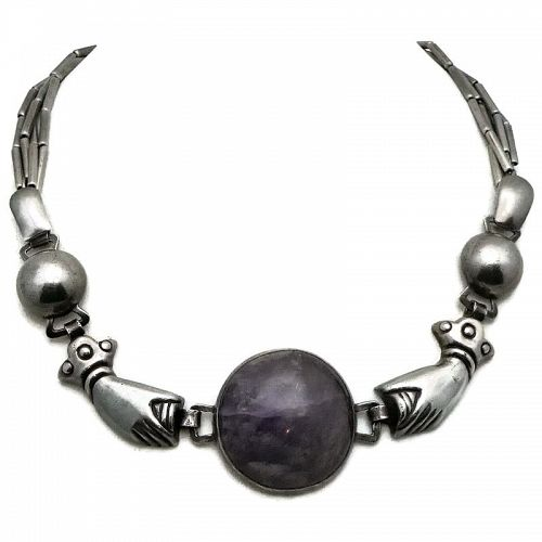 William Spratling Amethyst Hands Sterling Silver Taxco Mexico Necklace