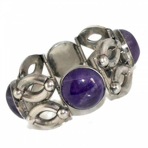 Fred Davis Design Mexican Amethyst Sterling Silver Modernist Bracelet