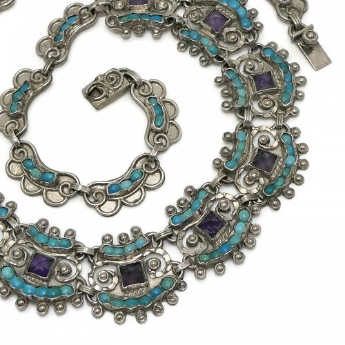Matl Ricardo Salas Mexican Amethyst Turquoise Sterling Silver Necklace