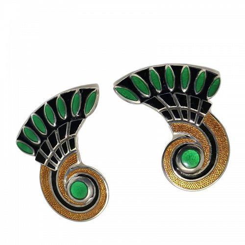 Margot de Taxco #5758 Egyptian Scroll Enamel Sterling Silver Earrings