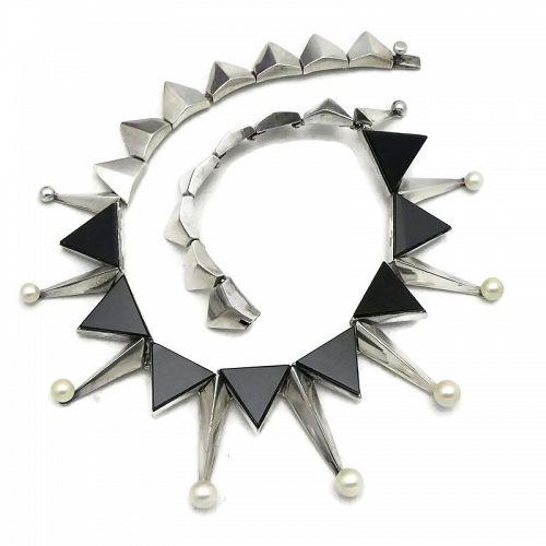 Antonio Pineda Onyx Pearls 970 Silver Taxco Necklace