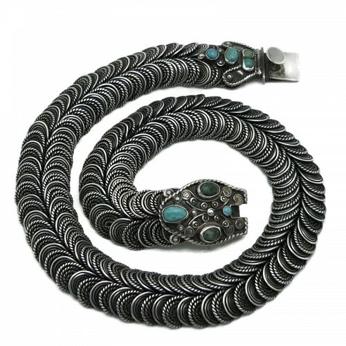 1940's CEL Mexican Turquoise Sterling Silver Coiled Snake Necklace