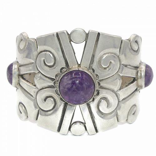 William Spratling Amethyst Nahui Ollin Sterling Silver Cuff Bracelet
