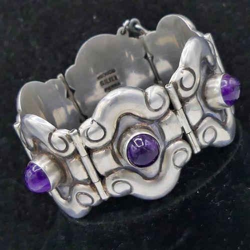 1940's Horatio de la Parra Amethyst Repoussé Silver Mexican Bracelet