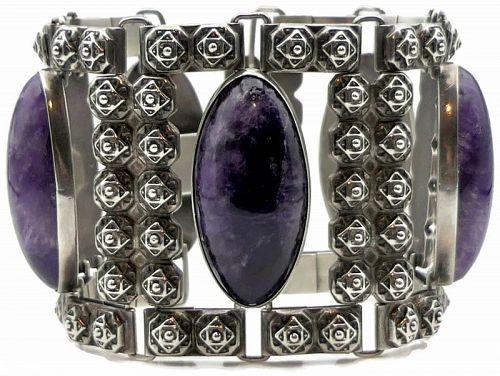 Fred Davis Amethyst Silver Wide Taxco Mexican Bracelet