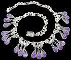 Matl Ricardo Salas Amethyst Dangles Mexican Sterling Silver Necklace