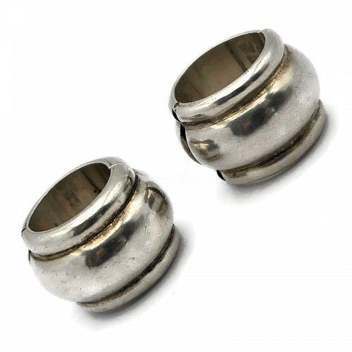 Antonio Pineda Taxco Mexican Silver Huggie Hoop Earrings