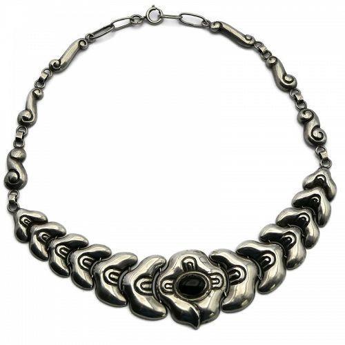 M. Velazquez Mexico City Onyx Sterling Silver Moth Necklace