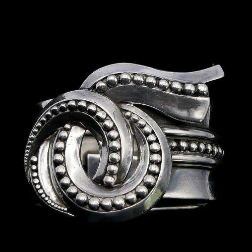 Margot de Taxco #5297 Whorl Sterling Silver Clamper Bracelet