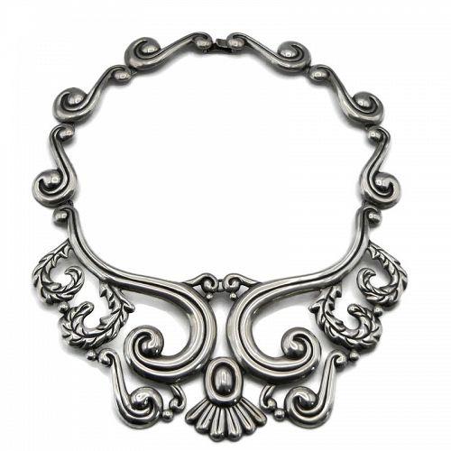 "Huge Mexican Repoussé Sterling Silver Pectoral Necklace 16"""