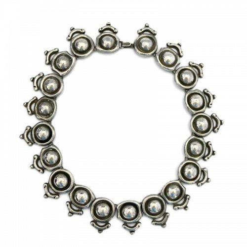 """Antonio Pineda """"Silver by Tono"""" Taxco Mexican Silver Domed Necklace"""