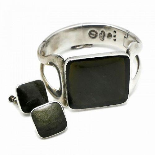 Sigi Pineda Obsidian Sterling Silver Mexican Bracelet Earrings Set