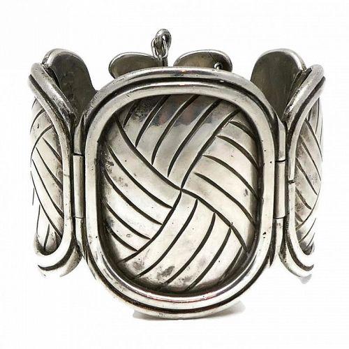 William Spratling 1940's Petate 980 Silver Taxco Mexican Bracelet