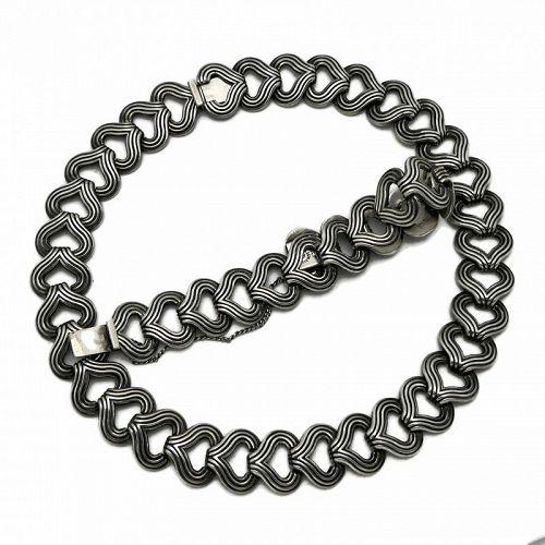 Los Castillo #836 Taxco Mexican Sterling Silver Necklace Bracelet Set