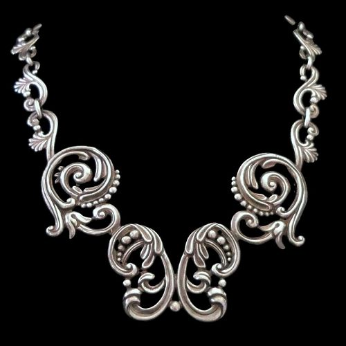 Margot de Taxco #5204 Mexican Repoussé Sterling Silver Necklace