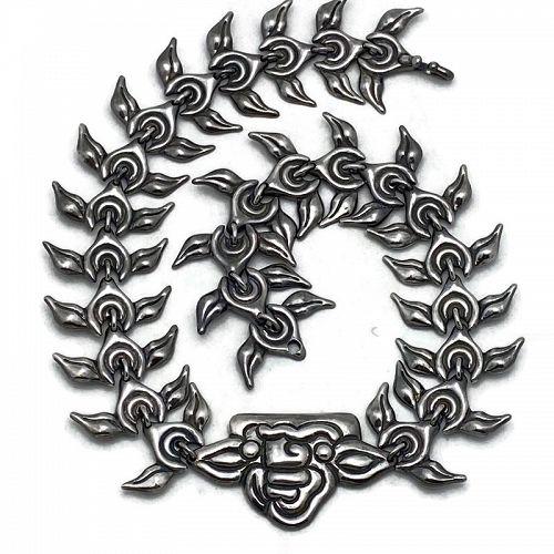 Los Castillo # 187 Taxco Mexican Repoussé Sterling Silver Necklace