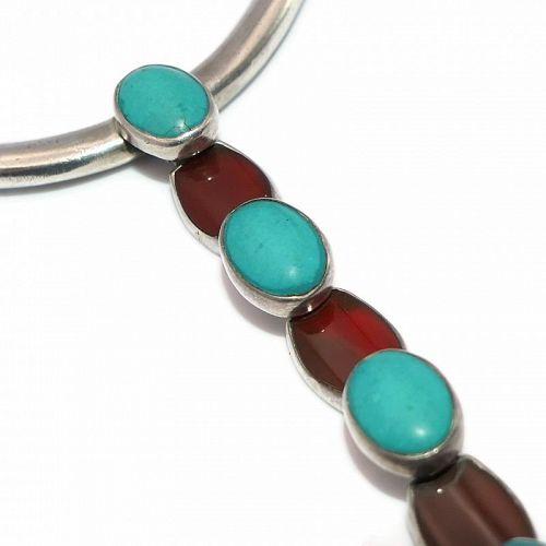 Antonio Pineda Carnelian Turquoise Taxco Mexican 970 Silver Necklace
