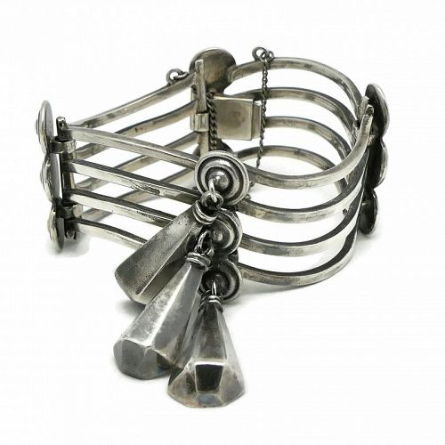 Los Castillo #788 Triple Dangle Taxco Mexican Sterling Silver Bracelet