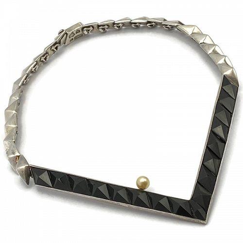 Antonio Pineda Obsidian Pearl 970 Silver Taxco Necklace
