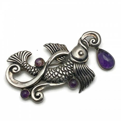 Margot de Taxco Amethyst Koi Fish Sterling Silver Mexican Pin