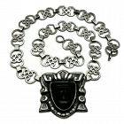 "Rare P. Ochoa Mexico City Onyx Repoussé Sterling Silver Necklace 21"""
