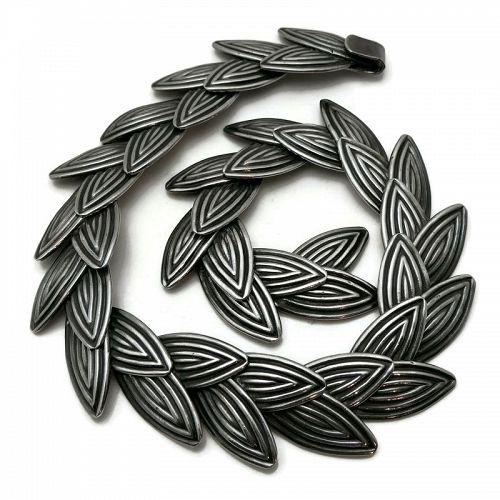 Los Castillo #124 Taxco Mexican Leaves Sterling Silver Necklace