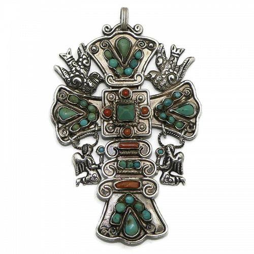 Matl Matilde Poulat 980 Silver Angels Palomas Jeweled Cross Pendant