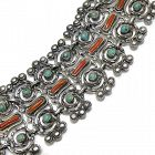 Matilde Poulat Matl Coral Turquoise Sterling Silver Mexican Bracelet