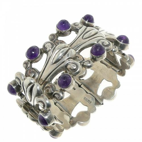 Early Mexican Amethyst Repoussé Sterling Silver Bracelet