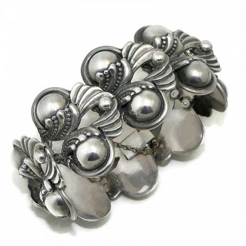 Margot de Taxco #5240 Mexican Winged Sterling Silver Repoussé Bracelet