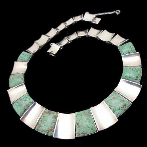 Felipe Martinez Piedra Y Plata Taxco Chrysocolla Silver Necklace