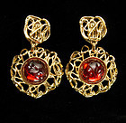 Statement YSL Yves Saint Laurent Earrings Red Cabochons