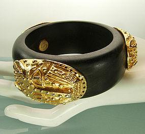 Dominique Aurientis Bracelet Wood African Leopard Masks