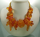 1980s Ugo Correani Italy Lucite Necklace Coral Sea Life