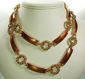 1970s Gucci Italy Cognac Enamel 33 Inch Necklace / Belt
