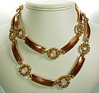 1970s Gucci Italy Cognac Enamel 33 Inch Necklace / Belt