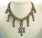 Luxe 1960 French 18th C Style Girandole Necklace Greens