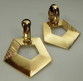 70s Yves Saint Laurent YSL Huge Modernist Drop Earrings
