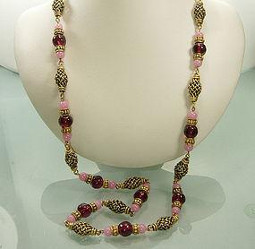 Yves Saint Laurent Pink Poured Glass Byzantine Sautoir