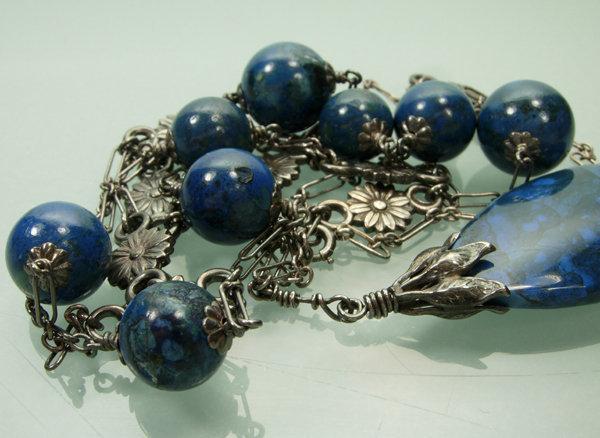 1910 Deco Blue Chalcedony 800 Silver Sautoir Necklace