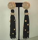 80s Simone Edouard Passementerie Strass Long Earrings